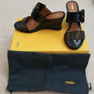 Authentic FENDI Wedge Slide Sandals+Box